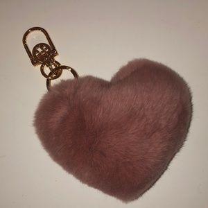 Mauve Tory Burch Heart Bag Charm